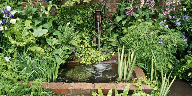 english garden fountain ideas