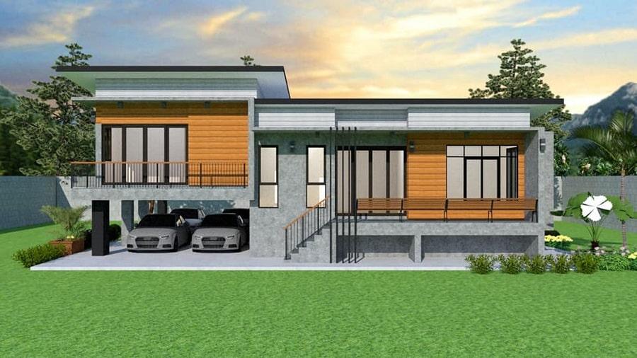 5 modern house designs, half floor